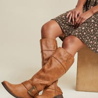 Boldly Buckled Knee High Boot in Cognac