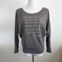 Jane Eyre Long Sleeve Literary Shirt- Charlotte Bronte Quote- Women's Flowy Dolman Sleeve Book Shirt