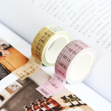 JIANWU 15mmX7m Creative fresh time Washi Tape shaft week plan and notebook DIY decorative paper tape stickers office stationery