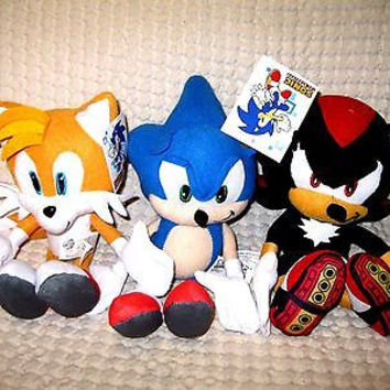 """Sonic the Hedgehog,Tails,Shadow Plush 10""""-12"""" Combo Plush Trio Set-New with Tags"""