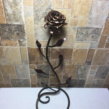 Mother's day gift, forged rose, birthday gift for her, iron rose, iron anniversary gift for her, metal sculpture, wedding anniversary gift