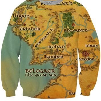 Map of Middle Earth Crewneck Sweatshirt