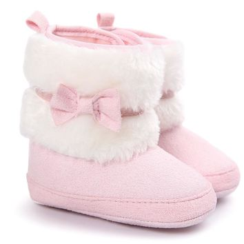 Hot baby booties Baby Bowknot Keep Warm Soft Sole Snow Boots newborn shoe size kids Soft Crib Shoes Toddler Boots