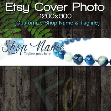 Etsy Shop Cover Photo 1200x300, Premade Blue Bead Jewelry Design, Jewelry Banner, Customize Shop Name, Looks Great on Mobile Devices