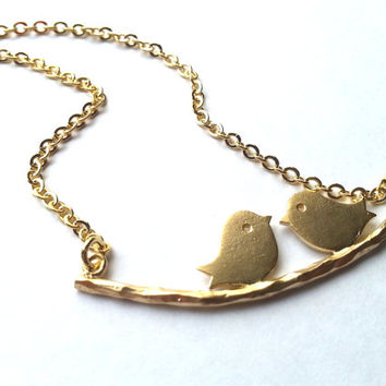 Love Bird Necklace in Gold, engagement necklace, love gift, valentine's gift, anniversary gift, wife, girlfriend, wedding gift