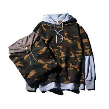 DCCK7XP Mens Womens Patchwork Camo Pullovers Hoodie Lover Gift