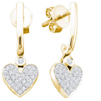 Diamond Heart Earrings in 10k Gold 0.25 ctw