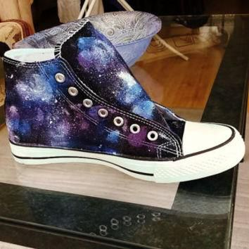 Custom hand made cosmic galaxy converse style hi top trainers