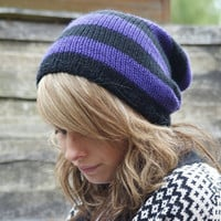 Purple and Black Stripey Knitted Slouchy Slouchy Knit Beanie Hat Dreads Tam Unisex