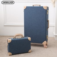 Women Unisex Travel Vintage 2 Pcs Luggage Sets Oxford Carry On Suitcase With Spinner Wheels