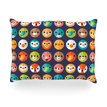 "Daisy Beatrice ""Smiley Faces Repeat"" Animal Pattern Oblong Pillow"