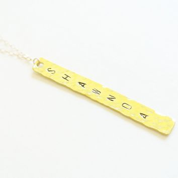 Hand Stamp Gold Bar Necklace - Hammered with Vertical Hang