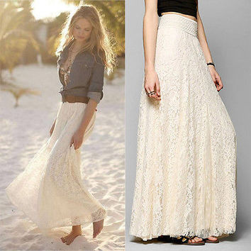 Good Quality 2016 Autumn Fashion Womens Lace Skirt Double Layer Elastic High Waist Elegant Ladies Maxi Long Skirts Wild