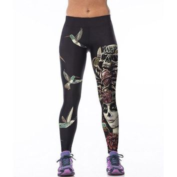 PEAPON Sporting Fitness Leggings Stretchy Trousers Pants Sexy Hips Push Up Leggins Mujer Women Fashion Birds Skull Printed Capris 75Z