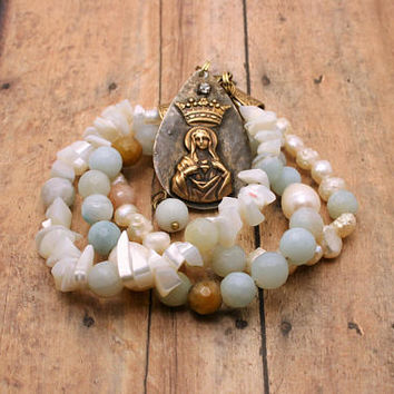 Star of the Sea Catholic Bracelet, Rustic Jewelry Freshwater Pearl Multi layer Bracelet, Immaculate Heart, Stella Maris, Catholic Gift idea