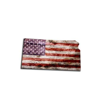 Kansas Distressed Tattered Subdued USA American Flag Vinyl Sticker