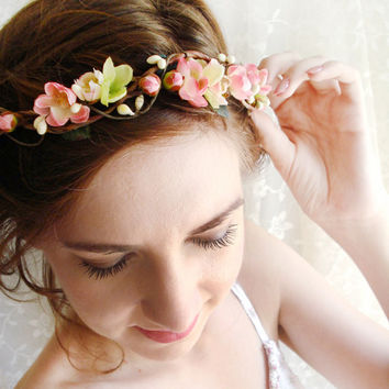 floral hair wreath circlet - MON PETIT - bridal pink green flowers