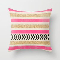 PINK AND GOLD STRIPES AND ARROWS Throw Pillow by Allyson Johnson