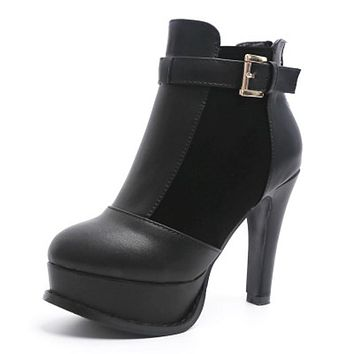 Fashion black Bottom Boots High Heels Pu Suede Leather Shoes Ankle Boots Winter Boots