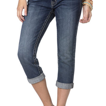 Simple Five Pocket Boyfriend Capri Jeans