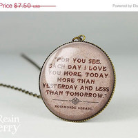 ON SALE: famous quotes pendant charms,vintage love quote resin pendants,quote charm jewelry- Q0037CP