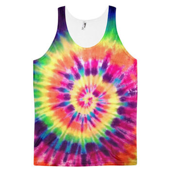 Hippy Hipster Tie Dye Hippie Bleach Swirl Dye Sublimation All Over Print 3D Full Print Cotton Polyester Unisex Novelty Blue Purple Yellow Orange Green & Red Tank Top