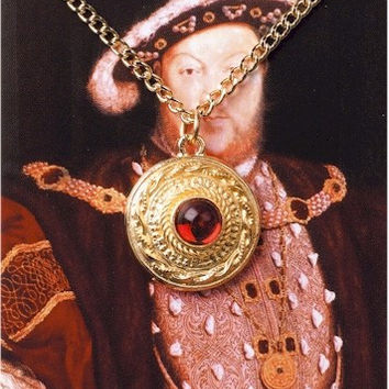 Henry VIII King Gem Pendant Necklace for Historic Renaissance Costume