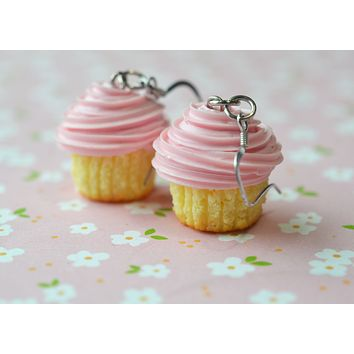 Strawberry Vanilla Cupcake Dangle Hook earrings, Polymer Clay Miniature Food Jewelry
