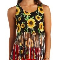 Sunflower Print Fringe Crop Top by Charlotte Russe - Black Combo