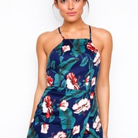 Capri Tropical Romper - Navy
