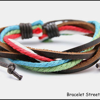 Handmade Leather and Hemp Bracelet Multi-Color Braclet Tribal Surfer Adjustable USA Seller BST-339