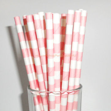 Coral Pink Sailor Striped Paper Straws 50 Stripe Paper Drinking Straws Light Pink Baby Pink-Wedding Birthday Bridal Easter Paper Straw