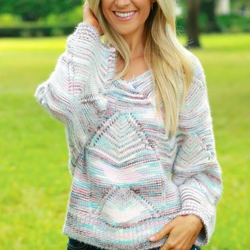 Striped Knit Sweater Multicolor