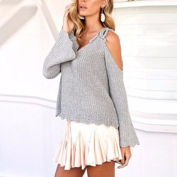 Women's Gray Off Shoulder Scalloped Edge Cold Shoulder Sweater