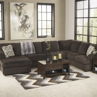 Ashley Furniture 39804-67-34-16 3 pc jessa place collection chocolate fabric upholstered sectional sofa with chaise and rounded arms