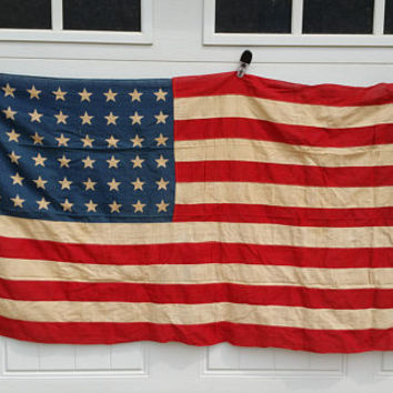 Vintage Rustic Weathered Cotton 48 Star American Flag