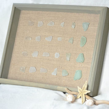 Sea Glass Ombre Wall Art, Home Decor, Genuine Clear to Teal on Burlap, Sea Glass Wall Art