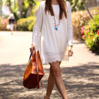 White Lace Loose Trumpet Sleeeve Tunic Dress