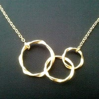 Eternity love Triple Gold Circle Necklace - 14k gold filed chain - Best Friends Gift, Birthday Gift