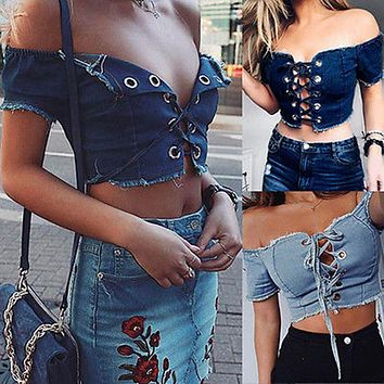 Women Off Shoulder Cut Out Tank Vest Short Sleeve Ruffle Crop Top Sexy Denim Tops