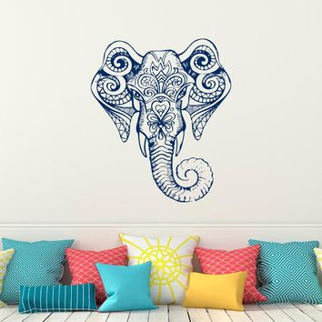 Indian Elephant Wall Decal, Yoga Ganesh Wall Stickers Indie Decor Buddha Wall Art Boho Bohemian Bedroom Yoga Studio Decor A81