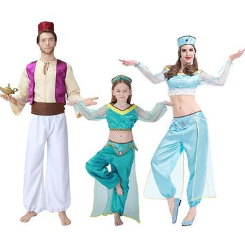 New Aladdin and the magic lamp Aladin& Jasmine Princess Cosplay Costumes Adult/Children/Grils Stage & Dance Family Clothes Suit