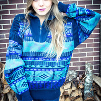 Customizable Vintage Blue Purple Print Zip Oversized Studded Sweater