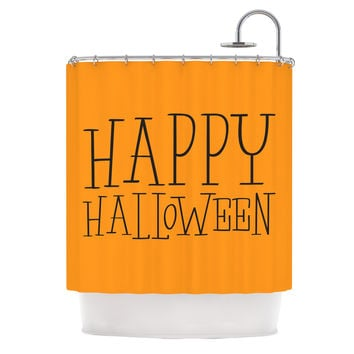 "KESS Original ""Happy Halloween - Orange"" Shower Curtain"