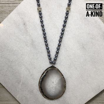 Dramatic Entrance One-of-a-Kind Agate Slice Pendant Necklace