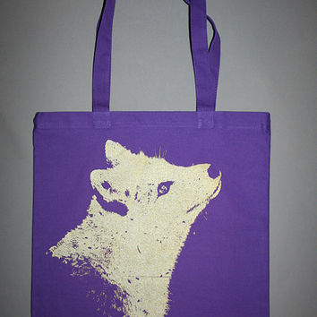 fox tote, Fox, purple fox tote bag, purple bag, golden fox, screenprinted fox bag, boho, bohemian gold fox canvas tote, purple fox bag