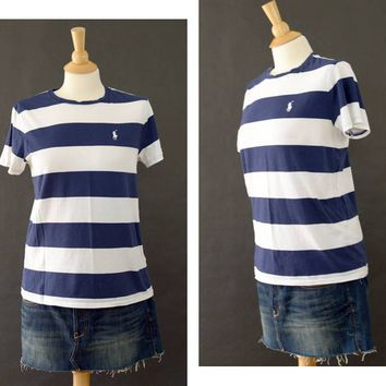Vintage Ralph Lauren Sport Tee Shirt, Blue White Striped Shirt, 90s Logo T Shirt,  90s Striped Shirt, Gift for her, Women's Size Larger