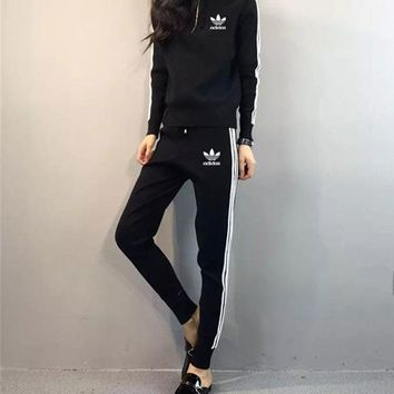 """Adidas"" Women Casual Stripe Zip Hooded Long Sleeve Trousers Set Two-Piece Sportswear"