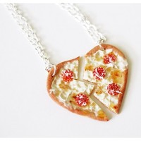 BFF Pizza Heart Necklaces