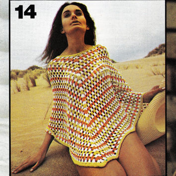 Vintage crochet beach cover up Poncho pattern PDF Instant Download cloak pattern Poncho Afghan Pattern Instant Download crochet patterns